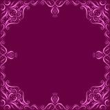 Rosa dekorativ ram på en mörk karmosinröd bakgrund vektor illustrationer