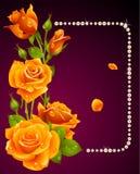 Rosa del amarillo del vector y marco de las perlas stock de ilustración