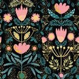 Rosa del arte popular, flores del oro y hojas del trullo Efecto cortado de papel sobre las hojas Medio modelo del descenso del ve stock de ilustración