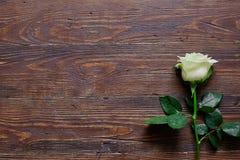 Rosa del blanco en una tabla de madera vieja marrón espacio para el texto o la etiqueta Imagenes de archivo