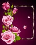 Rosa del color de rosa y marco de las perlas Fotos de archivo libres de regalías