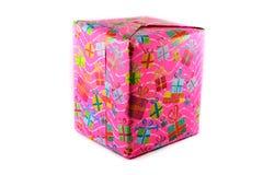 Rosa del contenitore di regalo Fotografia Stock