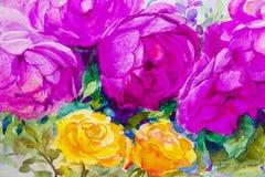 Rosa del ejemplo de la acuarela del arte de la pintura, color violeta de las rosas Fotografía de archivo libre de regalías