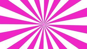 Rosa del fondo del movimiento del lazo de la explosión del sol de la historieta y blanco inconsútiles 4K ilustración del vector