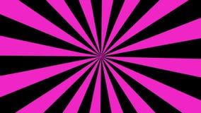 Rosa del fondo del movimiento del lazo de la explosión del sol de la historieta y negro inconsútiles 4K ilustración del vector