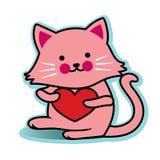 Rosa del gatto del biglietto di S. Valentino con cuore rosso Fotografie Stock