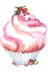 Rosa A del muffin dell'acquerello Immagini Stock Libere da Diritti