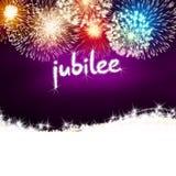 Rosa del partito di celebrazione del fuoco d'artificio di anniversario di giubileo Fotografia Stock Libera da Diritti