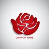 Rosa del rojo del logotipo de la compañía imágenes de archivo libres de regalías