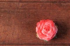 Rosa del rojo en el fondo de madera Fotografía de archivo libre de regalías