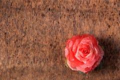 Rosa del rojo en el fondo de madera Fotos de archivo