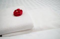 Rosa del rojo en la toalla blanca Foto de archivo libre de regalías