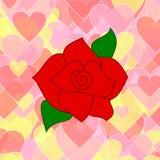 Rosa del rojo en un fondo de corazones rosados y amarillos Imagen de archivo libre de regalías