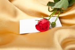 Rosa del rojo y tarjeta en blanco en el satén de oro Imágenes de archivo libres de regalías