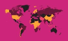 Rosa del vector del mapa del mundo imagen de archivo