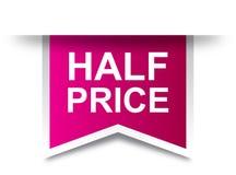 Rosa dell'etichetta dell'etichetta di metà prezzo illustrazione vettoriale