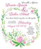 Rosa dell'invito di nozze di vettore dell'acquerello grande illustrazione vettoriale