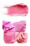Rosa dell'ombretto e rosa del rossetto su un bianco Immagini Stock Libere da Diritti