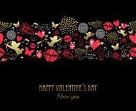 Rosa dell'oro del modello della cartolina d'auguri di giorno di biglietti di S. Valentino illustrazione vettoriale