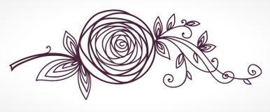 Rosa Desenho estilizado da mão da flor Imagens de Stock