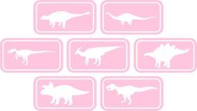 Rosa determinado del emblema rectangular del dinosaurio Fotografía de archivo