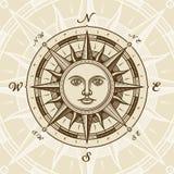 Rosa di bussola del sole dell'annata Fotografia Stock