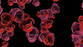 Rosa di caduta e rose rosse con l'alfa canale illustrazione di stock