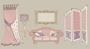 Rosa di colore dello schermo del sofà Immagine Stock