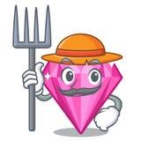 Rosa diamant för bonde ovanför teckenmakeuptabellen royaltyfri illustrationer