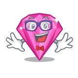 Rosa diamant för Geek som isoleras med tecknade filmen royaltyfri illustrationer