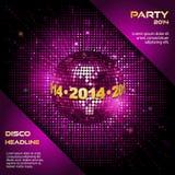 Rosa Discoballparteihintergrund 2014 lizenzfreie abbildung