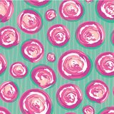 Rosa disegnato a mano contemporaneo e cerchi swirly dipinti bianco Modello senza cuciture di vettore sottile sullo scarabocchio a illustrazione vettoriale