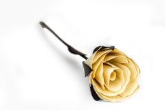 Rosa do amarelo da folha de palmeira no fundo branco Imagem de Stock Royalty Free