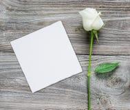 Rosa do branco e cartão de papel em um fundo de madeira Fotografia de Stock