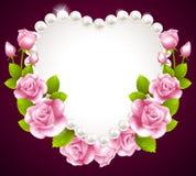 Rosa do rosa de Hqert e quadro das pérolas Imagem de Stock Royalty Free