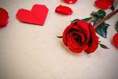 rosa do vermelho com forma do coração fotografia de stock