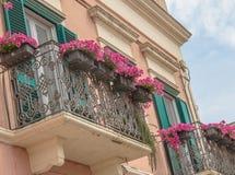A rosa do vermelho e do rosa floresce no balcão de uma casa velha do vintage Fotografia de Stock