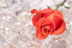 Rosa do vermelho em cyrstals efervescentes fotografia de stock royalty free