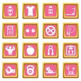 Rosa dos ícones da aptidão ilustração stock