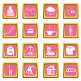 Rosa dos ícones da snowboarding ilustração stock