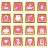 Rosa dos ícones de Dia das Bruxas ilustração do vetor