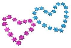 Rosa due e cuori blu Fotografia Stock
