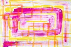 Rosa e amarelo Art Painting abstrato Imagens de Stock