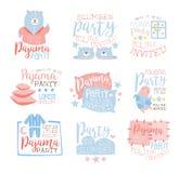 Rosa e bambini d'invito messi modelli Girly blu dell'invito del pigiama party per le carte dello Sleepover del pigiama di sonno d illustrazione vettoriale