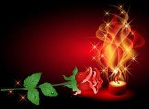 Rosa e candela Fotografia Stock