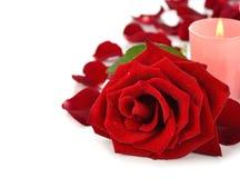 Rosa e candela Immagini Stock