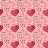 Rosa e corações vermelhos e para florescer o teste padrão sem emenda em um projeto festivo ilustração royalty free