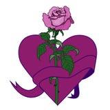 Rosa e cuore Immagine romantica Fotografia Stock