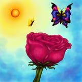 Rosa e farfalle alla luce solare brillante Immagine Stock Libera da Diritti