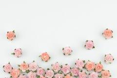 Rosa e flores de papel alaranjadas no fundo branco Imagem de Stock Royalty Free